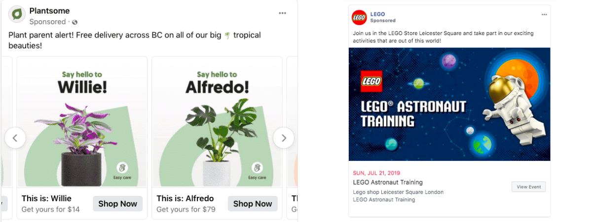 Facebook ads - exemplos