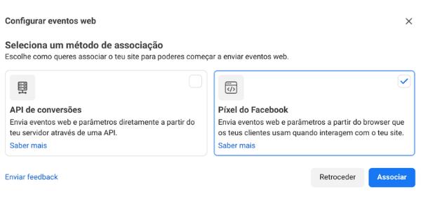 Facebook ads - opções de pixel de facebook